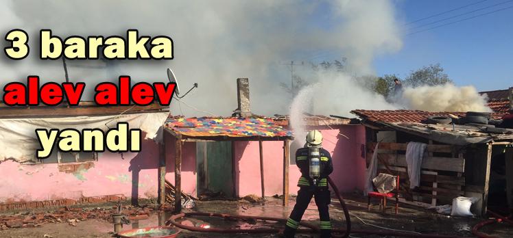 Bahçeköy'de 3 baraka alev alev yandı