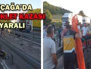 YENİÇAĞA'DA  MOTOSİKLET KAZASI: 4 YARALI