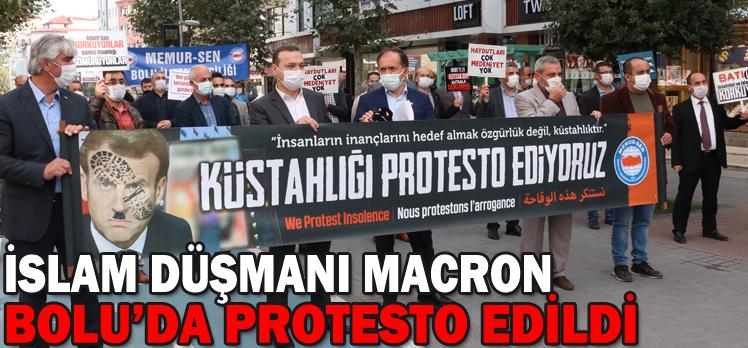 İSLAM DÜŞMANI MACRON BOLU'DA PROTESTO EDİLDİ